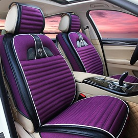 Charming Purple Color Design With Unique Style Mixed Material Universal Five Car Seat Cover
