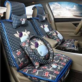 Cute Cartoon Calf Design With British Flag Design Durable Material Universal Car Seat Cover