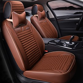 Charming Coffee Style With Good Permeability Flax Material Universal Five Car Seat Cover