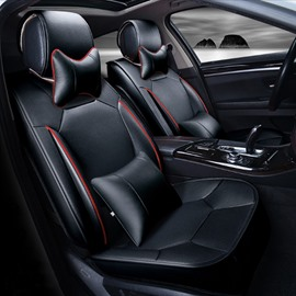 Classic Business Black Solid Design Strong 3D Visual Effect Durable PU Universal Five Car Seat Cover