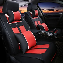 Fashion Red Black Color Mixing Durable PU Leather Material Five Universal Car Seat Cover