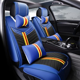 Fashion Blue Sport Series High-Grade PU Leather Material Universal Five Car Seat Cover