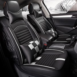 High-Grade Black Design Side Fold Craft Durable PU Leather Material Universal Five Car Seat Cover
