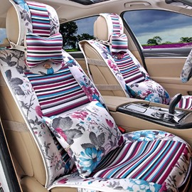 Attractive Folral Style Design Good Permeability Flax Material Universal Five Car Seat Cover