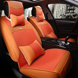 Fresh Orange Color Fashion Design Luxury Durable PET Material Universal Five Car Seat Cover