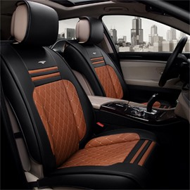 High-Grade Red Black Contrast Color Mixing Durable PU Ice Silk Material Mixing Universal Car Seat Cover