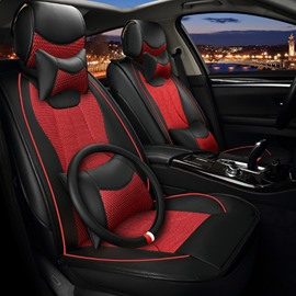 High-Grade Red Black Contrast Color Mixing Durable PU With Ice Silk Material Universal Car Seat Cover
