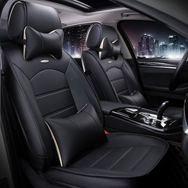 Luxurious Textured Design Solid Business Black PU Leatherette Material Universal Car Seat Cover