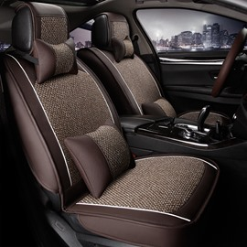 Flax Leatherette Material Mixing Good Permeability Universal Five Car Seat Cover