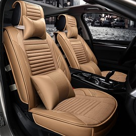 Classic Business Beige Cost-Effective Universal Durable PET Material Five Car Seat Cover