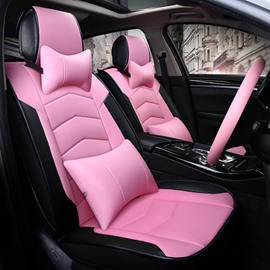 Girly Charming Pink Color Attractive Sport Design Durable PVC Material Universal Five Car Seat Cover