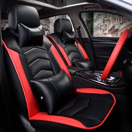 Sports Series Design Classic Black And Red Colors PU Leather Universal Car Seat Covers