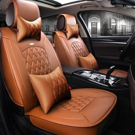 Fresh Orange Color Luxury Grid Style Design Durable PVC Material Fashion Universal Five Car Seat Cover