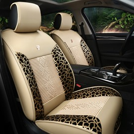 Simple Leopard Print Ice Silk And Rayon Cost-Effective Car Seat Covers