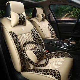 Luxurious Leopard Print Ice Silk And Rayon Car Seat Covers