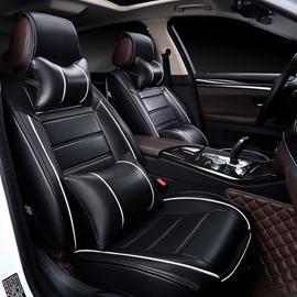 35 Color Brilliancy Elegant Shape Striped Genuine Leather Universal Car Seat Cover