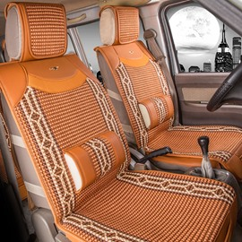 Delicate Colors Ornamental Striped Ice Silk And Rayon Designed for 7 Seats Car Seat Cover