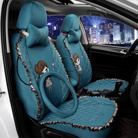 Cute Girly Cartoon Figure With Laces Custom Fit Car Seat Covers