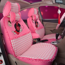 Cute Girly Figures Squares Pattern With Laced Sides Custom Fit Car Seat Covers