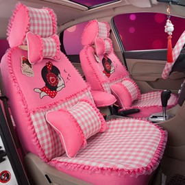 Cute Cartoon Figures Squared Patterns With Laces Custom Fit Car Seat Covers
