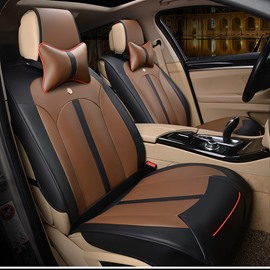 Sleek And Modern Design Smooth Leather Business Style Universal Fit Car Seat Covers
