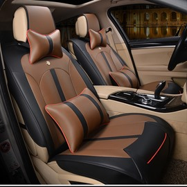 Modern Design Smooth Leather Business Style Universal Fit Car Seat Covers
