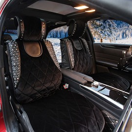 Smooth Soft Suede Rivet Punk Style Universal Car Seat Covers
