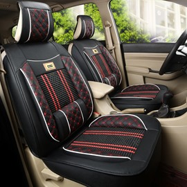 Bohemian Style Knitting Mixed Leather Front Single-seat Universal Car Seat Cover