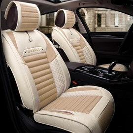 Casual Comfortable Rustic Style Linen Patterns Universal Car Seat Covers
