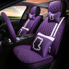 Girly Bright Color Linen Material And Good Breath Performance Universal Seat Covers