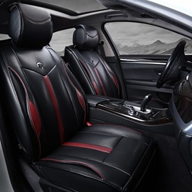 Luxury Solid Color Bright White Lines Leather Universal Car Seat Covers