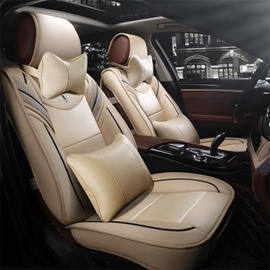 Unfading Hard-Wearing Soft Comfortable Superb Man-Made Leather Material Extravagant Universal Fit Car Seat Covers Suitable For 5-Seater Cars