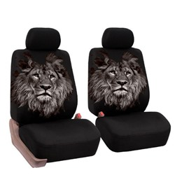 Firm Durable Washable Lion Pattern Front seats Cloth Universal Car Seat Covers