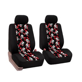Firm Durable Washable Skull and Cherry Pattern Front seats Cloth Universal Car Seat Covers