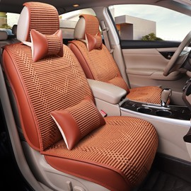 Flax Woven Fabric Pure Color Cool&Refreshing Universal Five Car Seat Covers