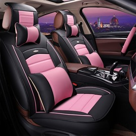 Girly Contrast Color Design Durable PU Material Universal Five Car Seat Cover