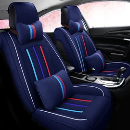 Linen Material Multi-color Stripes All Seasons Five Seats Universal Car Seat Covers