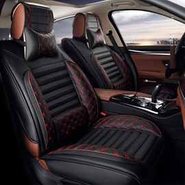 PU Material Stripe Patterns Nets All Seasons Universal Fit Car Seat Covers