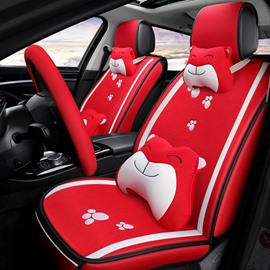 Cartoon Patterns Linen Material All Seasons Cotton Universal Fit Car Seat Covers