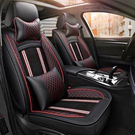 PU Material Stripe Patterns All Seasons Stripe Universal Fit Car Seat Covers