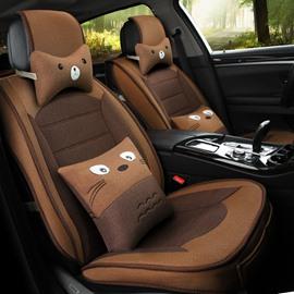 Linen Material Cartoon Patterns All Seasons Five Seats Universal Car Seat Covers