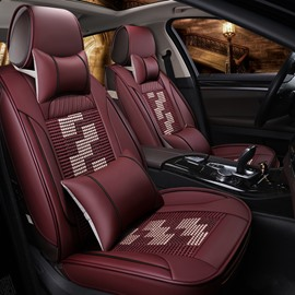 Cotton Filler Geometric Figure All Seasons Plain Pattern Universal Car Seat Covers