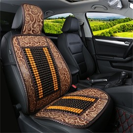 Flax Backside Leopard Print Leather Front Single-seat Universal Car Seat Cover