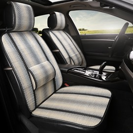 Stripe Pattern Flax Cool Simple Design Front Single-seat Universal Car Seat Cover
