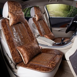 Cool Leather&Ice Wood Simple Design Front Single-seat Universal Car Seat Cover