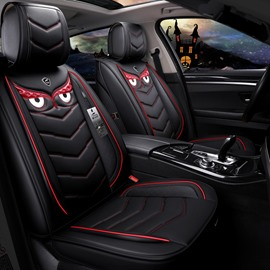 Cute Devil Eyes Leather Universal Fit Car Seat Covers Anti-skid Wear-resistant Dirt-resistant Durable And Breathable Car Seat Covers