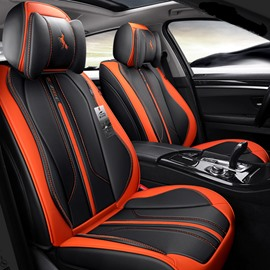 [ Two Gifts For Free ] Durable Hard-Wearing Artificial Leather Waterproof Unfading 5 Seats Sport Style Universal Fit Seat Cover Suitable For Most Models