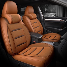 Luxurious Leather Material Ergonomic Headrest Universal Fit Car Seat Cover