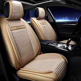PU Leather Linen Simple Style All Seasons Universal Fit Seat Covers