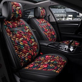 Flower Pattern PU Leather Simple Style All Seasons Universal Fit Seat Covers